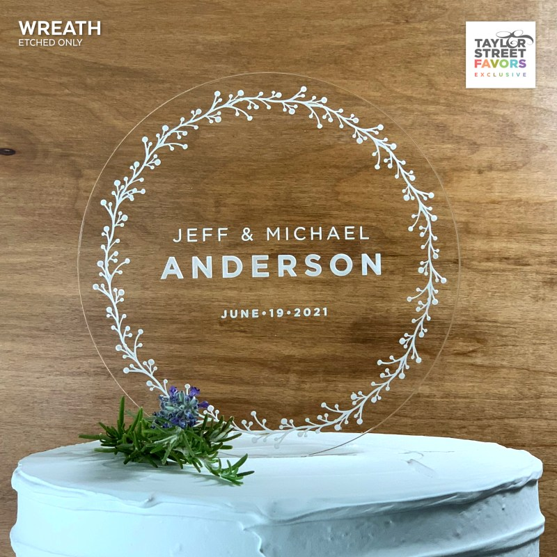 Rustic Wreath ROund Acrylic Cake Topper