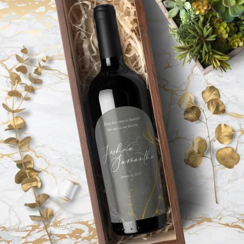 Floral Wedding Wine Bottle Labels