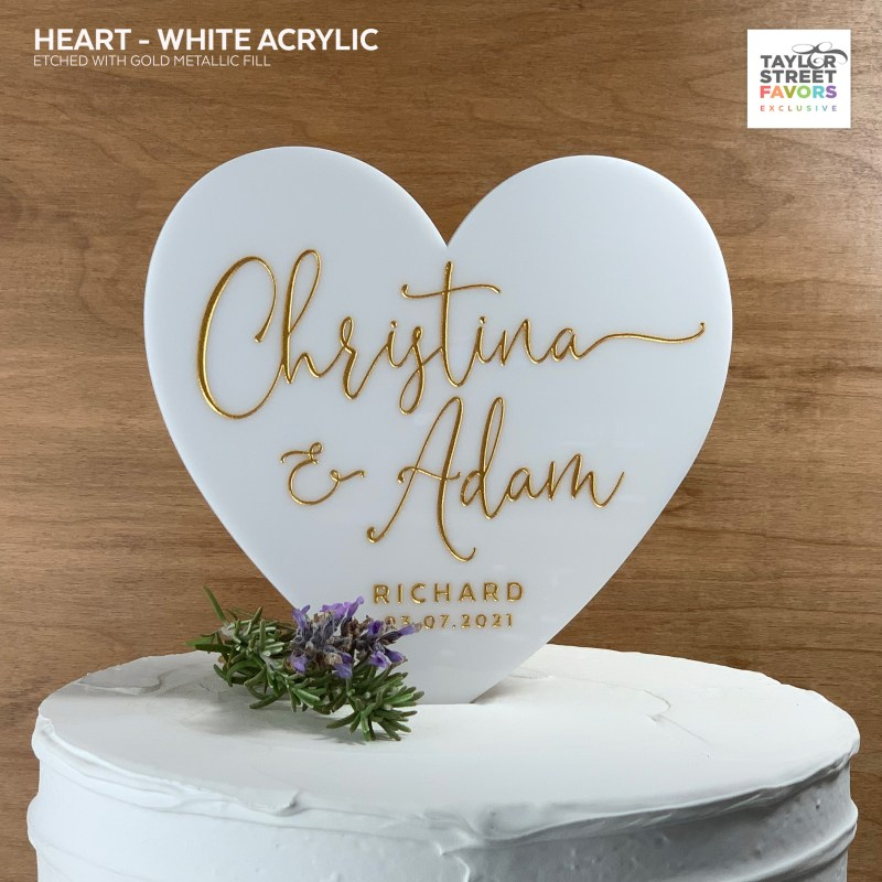 White Acrylic Heart Cake Topper with Script Etched Names and Date