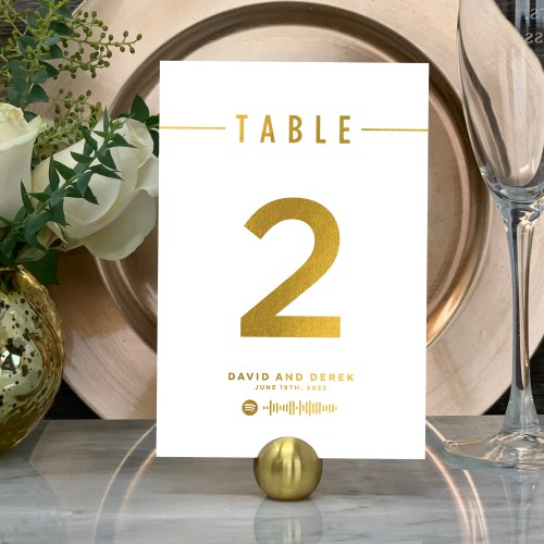 """Spotify """"Love Song"""" Table Numbers In Gold Foil"""