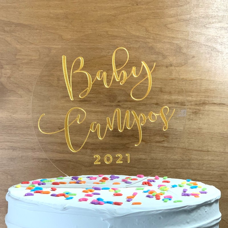 Round Baby Shower Announcement Acrylic Cake Topper
