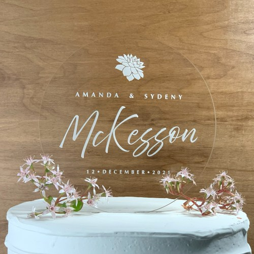 Round Modern Script Acrylic Cake Topper