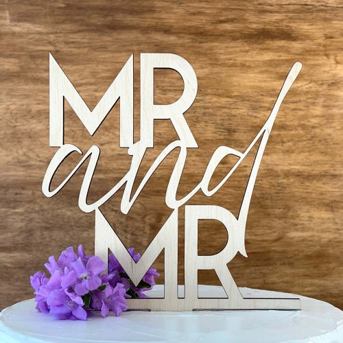 MR and MR Wedding Cake Topper - Wood