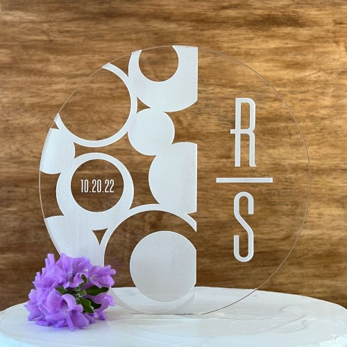 Contemporary Round Engraved Acrylic Cake Topper With Initials and Date