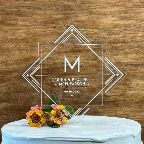 Deco Design Engraved Acrylic Cake Topper With Names and Date