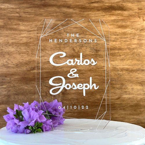 Tall Etched Cake Topper with Geometric Design and Names & Date