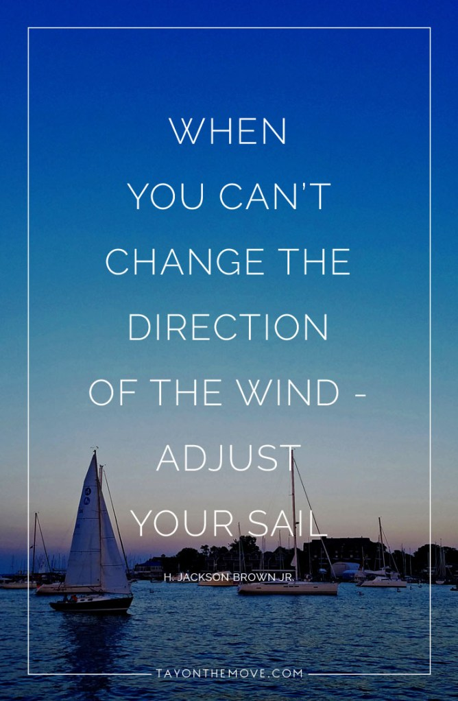 Quote:  When you can't change the direction of the wind - adjust your sail