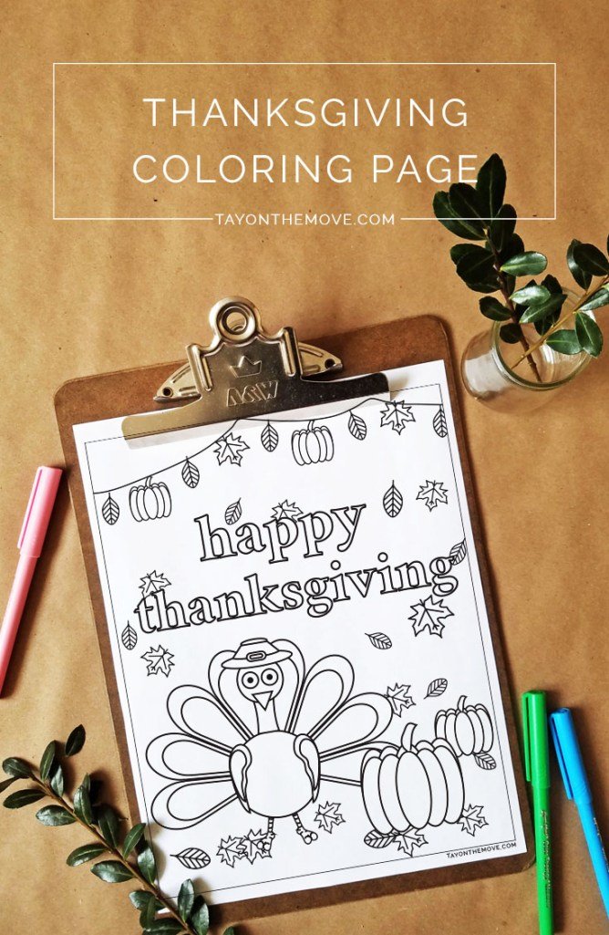Free Thanksgiving Inspired Coloring Page