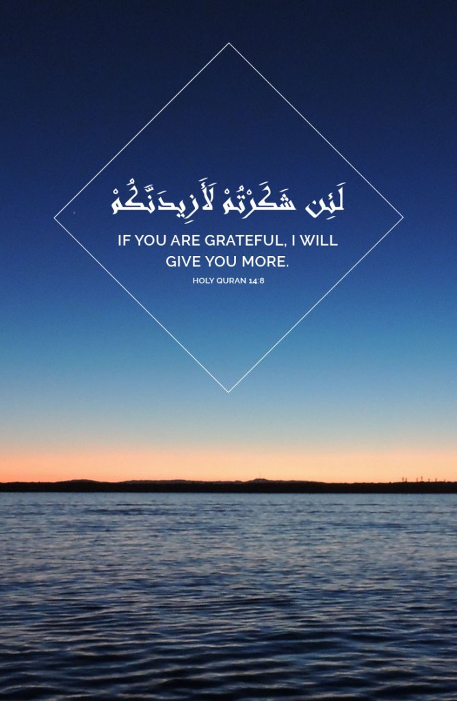 If you are grateful, I will give you more. - Holy Quran 14:8
