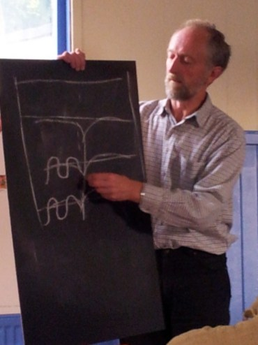Andrew drawing on a chalkboard