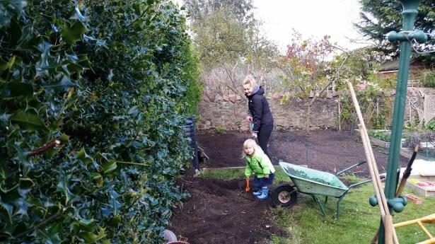 A photo of us digging and raking