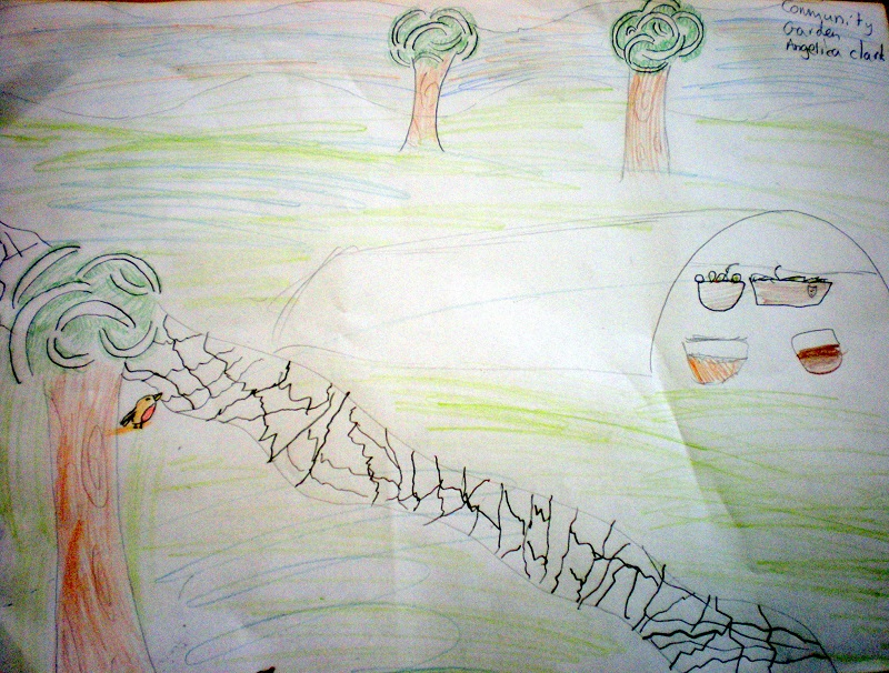Drawing of Community Garden by Angelica Clark, P6, Tayport Primary.