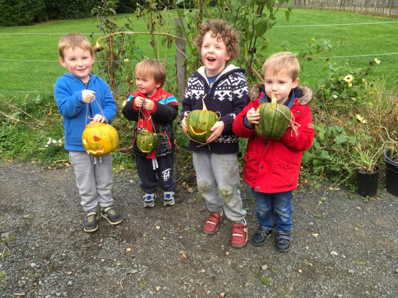 Child minder group with their Halloween pumpkins