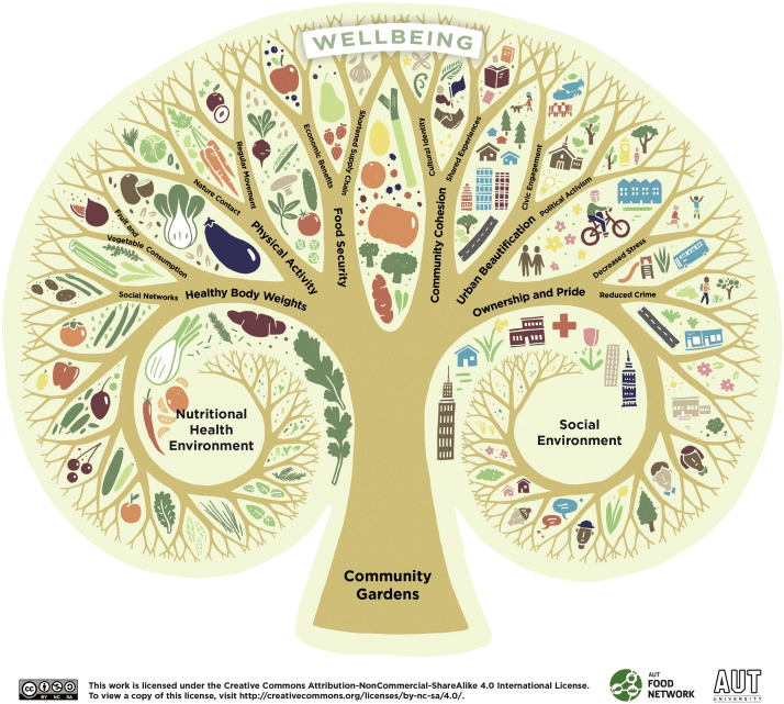 A diagram of a Model of community gardens and wellbeing