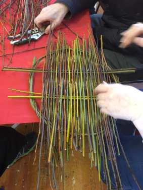 People weaving willow baskets