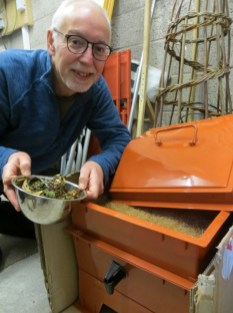 A photo of Fraser feeding his earthworms
