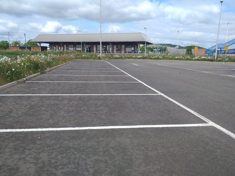 A photo of an empty car park