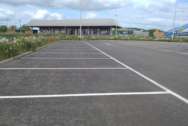 A photo of an empty car park