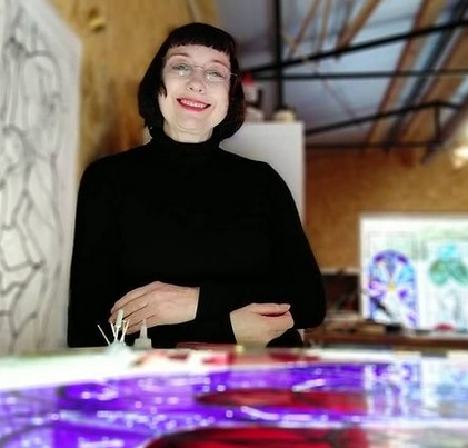 A photo of Pinkie Maclure in her studio