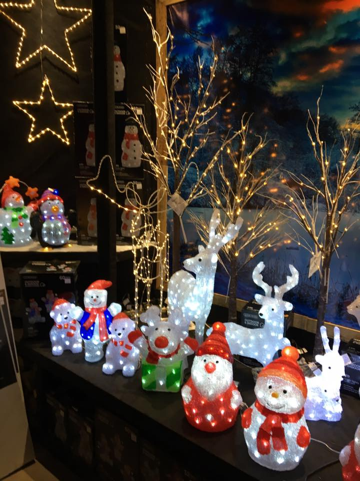 A Christmas display including light up Santa's, reindeer's, snowmen and polar bears