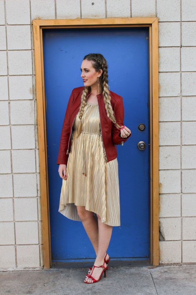 gold metallic dress, red heels, red leather jacket