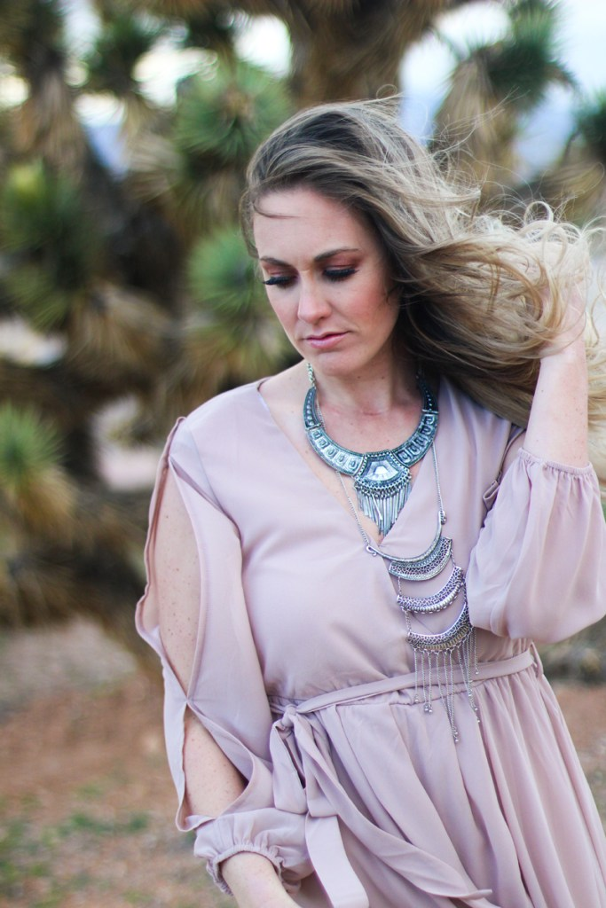 blush maxi dress, statement necklace, desert portraits, messy hair
