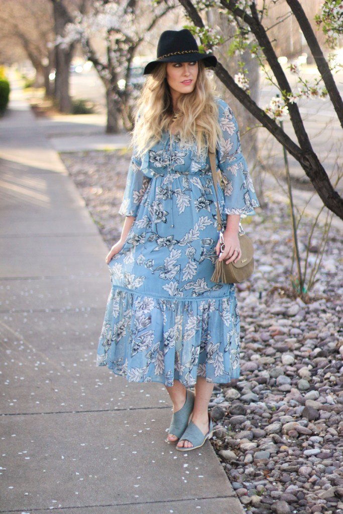 floral dress with bell sleeves, free people knock offs, fringe