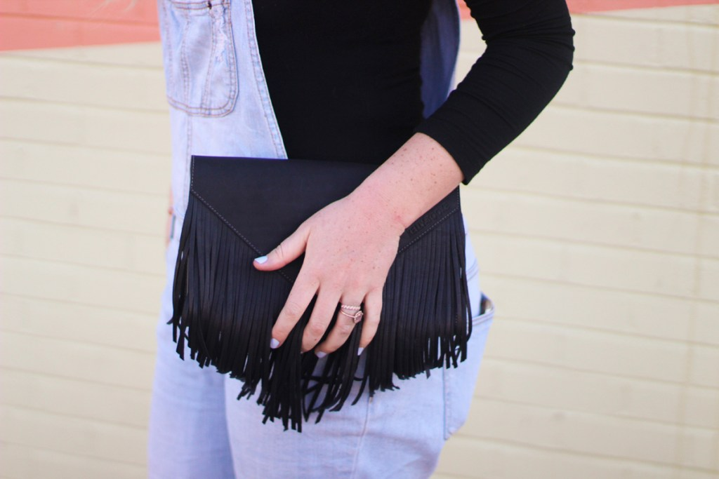 fringe clutch, overalls, spring denim trends