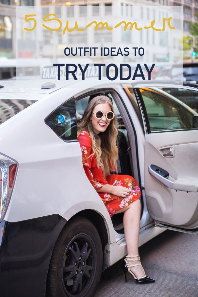 five summer outfit ideas, floral dress, taxi photo