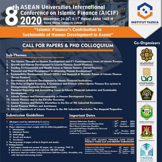 The 8th ASEAN Universities International Conference on Islamic Finance (8th AICIF) 2020