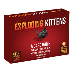 """""""Exploding Kittens"""" box art, game created by Elan Lee and Shane Small."""