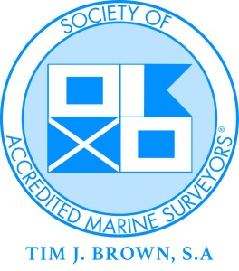 Society of Accredited Marine Surveyors Logo with Tim J. Brown, S.A. under logo