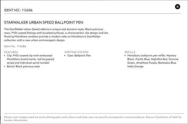 MontBlanc StarWalker Urban Speed Ballpoint Pen Information Sheet