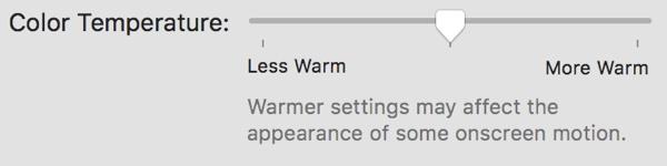 macOS 10.12.4 Night Shift Colour Temperature Options