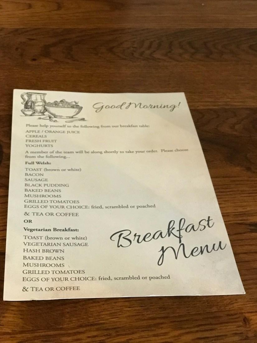 The Glengower Breakfast Menu
