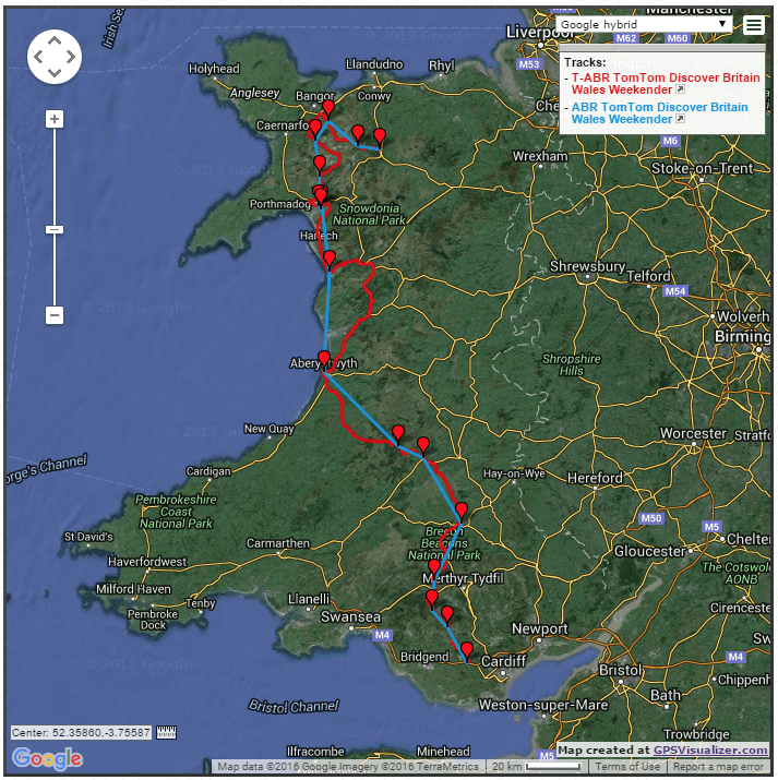 Wales in a Weekend Route