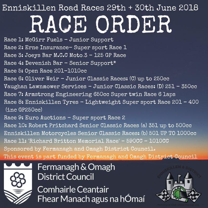 2018 Enniskillen 100 Race Schedule