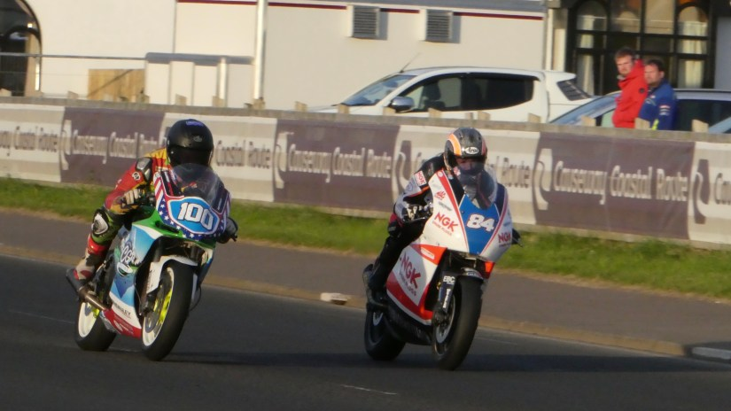 Maria Costello and Matt Sadowski both lit - and lit up by a gorgeous setting sun during the supertwins race Joey Thompson (74) was flying on the Paton in the supertwins race - At the 2018 NW2018 (17/05/2018)