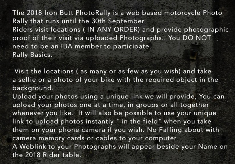 Iron Butt Association Ireland Photo Rally 2018