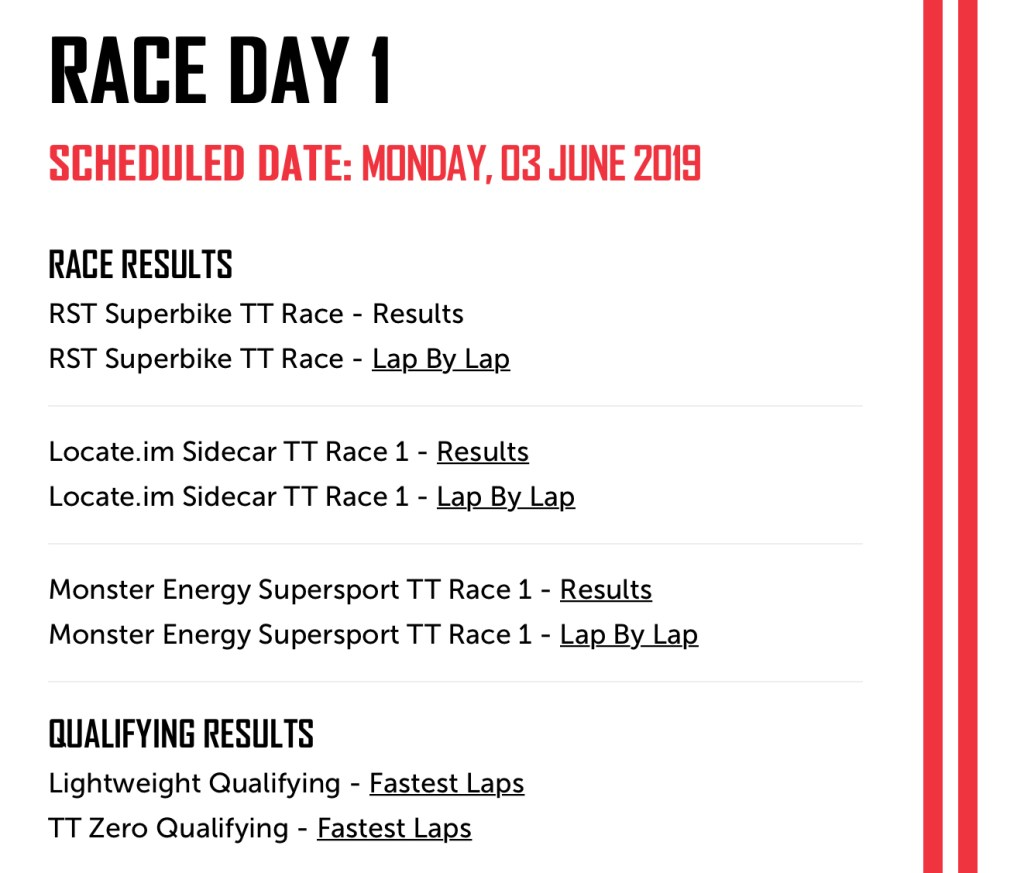 TT2019 Race Day 1 Schedule