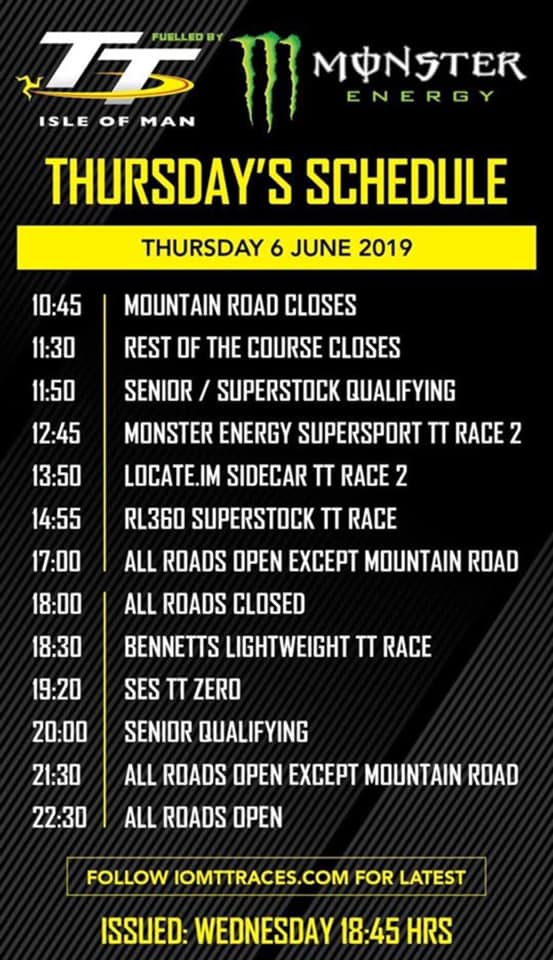 TT2019 Schedule : Thursday 6th June 2019