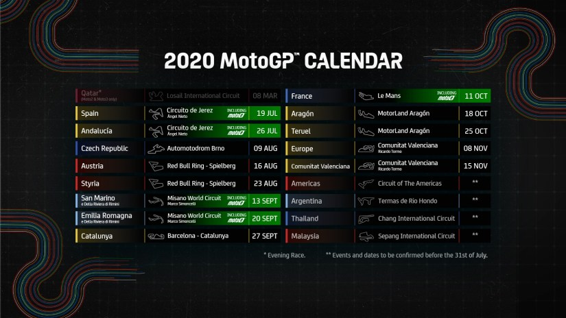 2020 Revised MotoGP Calendar