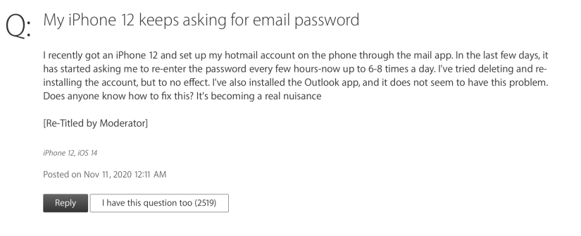 Apple iPhone Asking for Outlook Password