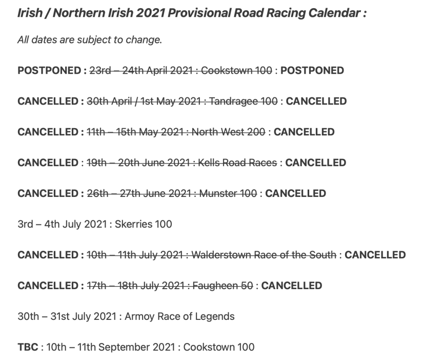 Irish / Northern Irish 2021 Provisional Road Racing Calendar