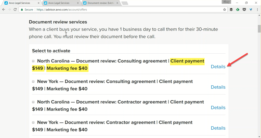 Avvo Legal Services - Marketing Fee and Client Payment