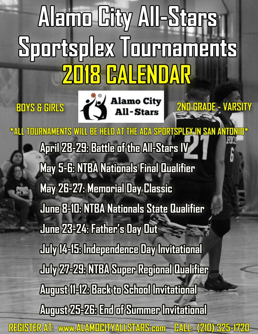 ACA Sportsplex Tournament Calendar 2018