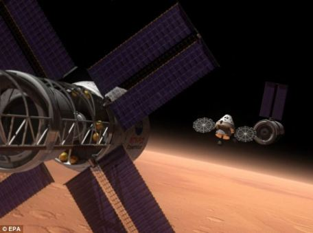 Artist's rendering: The Orion - or Multipurpose Crew Vehicle (MPCV) - can be seen in the centre of this vision of a possible mission to Mars