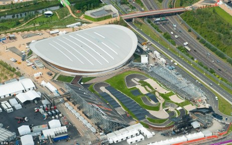 Venues: The Olympic Velodrome (top) and the BMX track make up part the Olympic Park