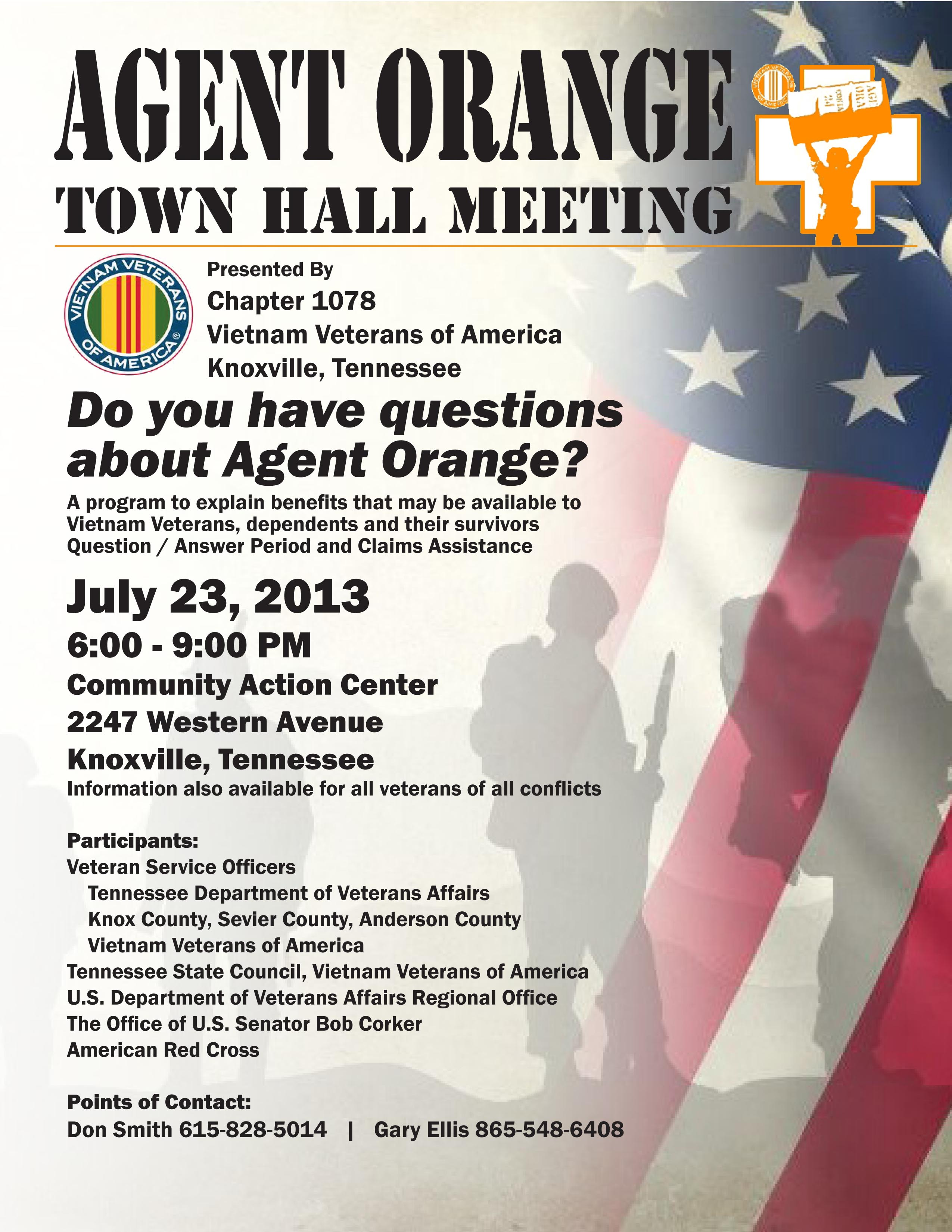 AGENT ORANGE Town Hall Meeting July 23! | Tri-Cities