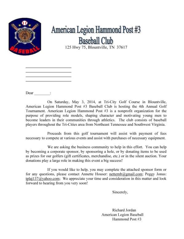Golf donation letter 2014